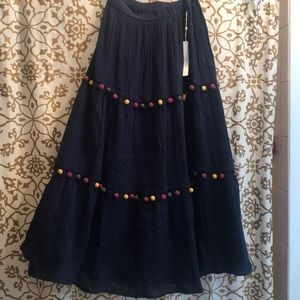 A line blue multicolored pompons skirt